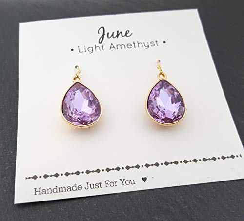 Lavender Tears (June Birthstone Earrings - 14k Gold Filled Light Amethyst Crystal Teardrop Earrings - Gift for Her)