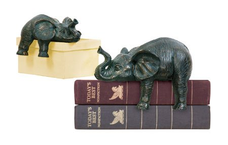 Sprawling Elephant Bookends - Pair