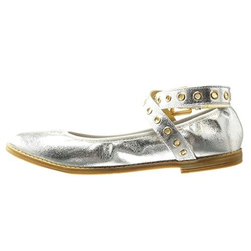 Angkorly - Chaussure Mode Ballerine effet vieilli femme lanière perforée doré Talon bloc 1 CM - Argent