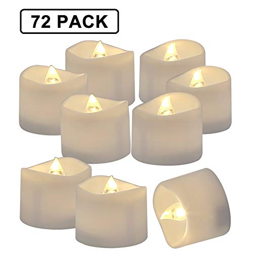 Flameless Votives Bulk (Homemory 72 Pack Flameless Flickering LED Tealight Candles Battery Operated Votive Tealight Electric Tea Lights, Warm)