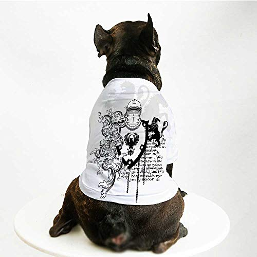 YOLIYANA Medieval Decor Fashion Pet Suit,Heraldic Helmet Coat of Medieval Knight with Ornate Pattern The Past Old Times Graphic for Cats and Dogs,S