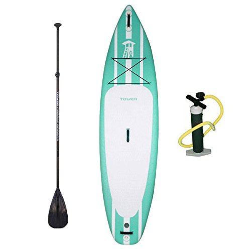 "Tower Inflatable 10'4"" Stand Up Paddle Board - (6 Inches Thick) - Universal SUP Wide Stance - Premium SUP Bundle (Pump & Adjustable Paddle Included) - Non-Slip Deck - Youth and Adult - Mermaid (Fin Wht)"