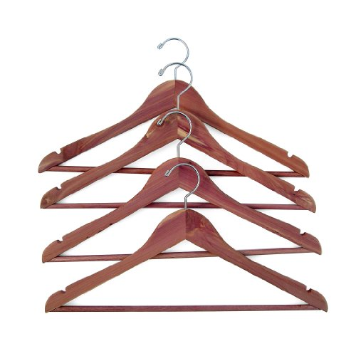 Household Essentials 26140 CedarFresh Red Cedar Wood Clothes Hangers with Fixed Bar and Swivel Hook - Set of 4 (Closet Built Coat In)