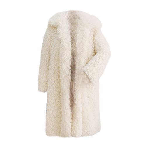 (Kangma Women Winter Warm Thick Coat Solid Overcoat Outercoat Jacket Cardigan Coat White)