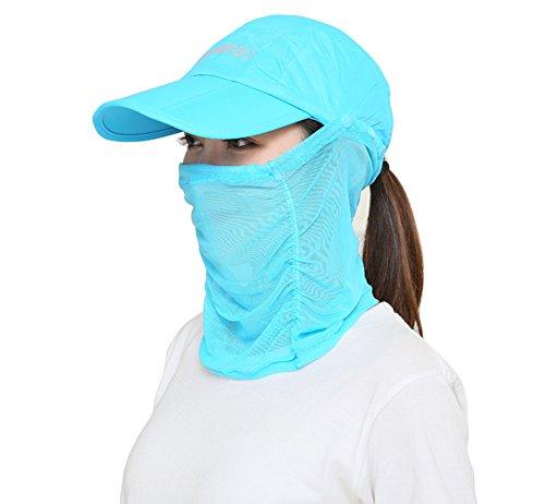 (よキーよ)Yokeeyo日よけ帽子 フェイスマスク フェイスカバー ネックカバー 大判 薄地 きれいめ 顔面、首筋の日焼け対策 紫外線 UVカット 日よけ止め レディース アウトドア 折りたたみ