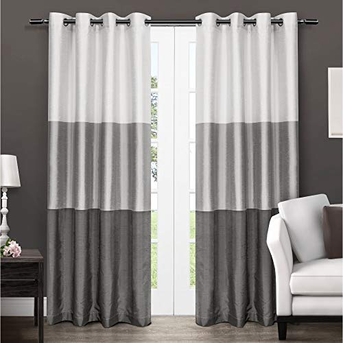 Exclusive Home Chateau Striped Faux Silk Grommet Top Curtain Panel Pair, Black Pearl, 54x96, 2 Piece