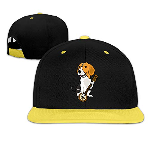 64546SF Kids Girls Funny Beagle Dog Playing Banjo Baseball Caps Trucker Hiphop Caps Yellow]()