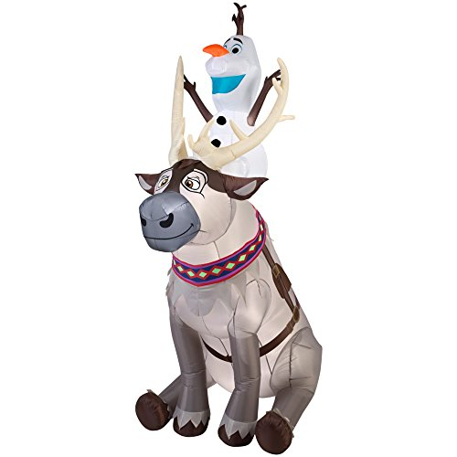 Gemmy Inflatables Disney Olaf Sitting on Sven Scene (Frozen Christmas Outdoor Decorations)