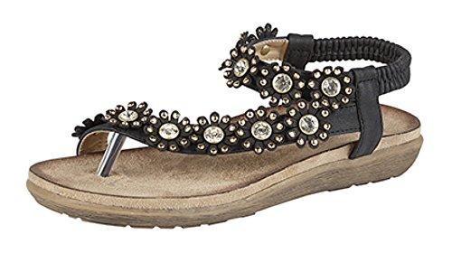 femmes Semelle avec à sandale entre noir bijoux Confort arrière fermeture doigt Noir awqOaxSr