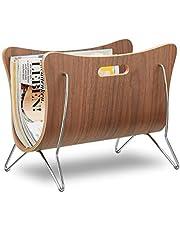 Relaxdays krantenrek hout, bughout, krantenmand, modern design, robuust, handgrepen, h x b x d cm, naturel