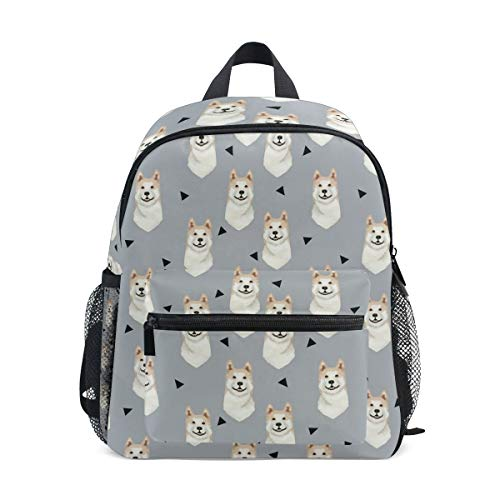 - Kids School Bag Backpack Akita Dog Gray Children Bookbag