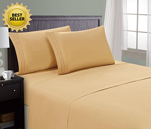 HC Collection Bed Sheet & Pillowcase Set HOTEL LUXURY 1800 Series Egyptian Quality Bedding Collection! Deep Pocket, Wrinkle & Fade Resistant,Luxurious,Comfortable,Extremely Durable(King, Camel (Luxurious Camel)