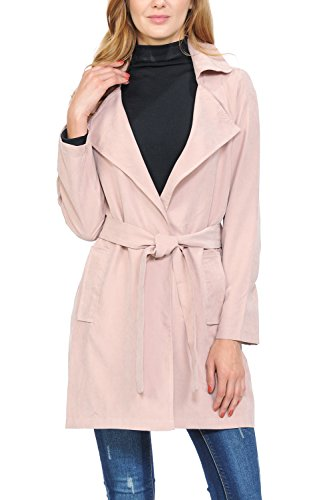 Auliné Collection Womens Peach Skin Asymmetrical Belted Lightweight Anorak Jacket No Zip Rose L ()