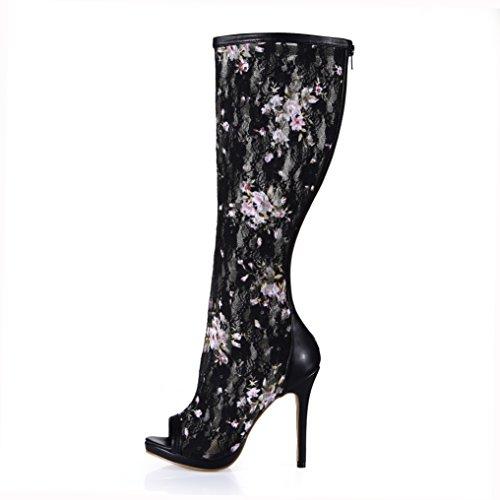 Fille chaussures Plus Talon Ladies Des Poisson La Boot Banquet Grands Black Conseil Haute De Et Nouveau Les Passent Bottes D'hiver Haute Pour XPqCwS