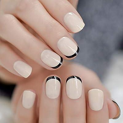 EchiQ - 24 uñas postizas de gel UV sintético, color beige, negro ...