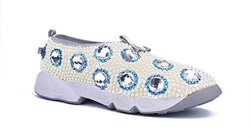 Minitoo Ladies MA52557 Fashion Rhinestone Knot Comfortable Party Flats Sneakers White