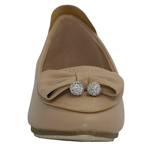 No Shoes Flats Toe Womens AalarDom On charms Apricot Solid Pu Pointed Pull Heel Bqtgw1ST