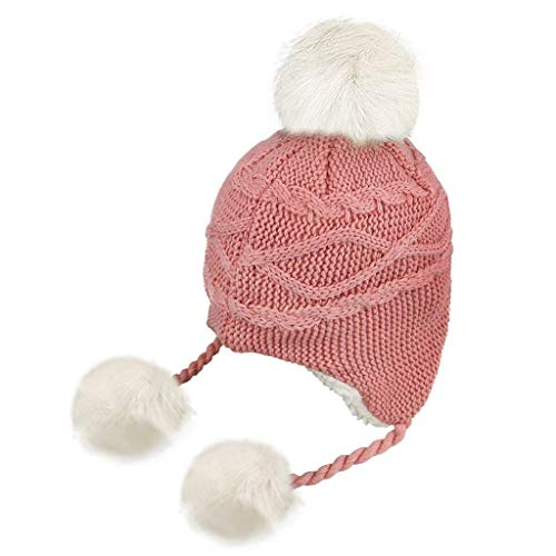 IPENNY Warm Knitted Stripe Christmas Hat Fleece Lining Earflap Hats with Pom Cuff Beanie Stocking Cap for Kids Adult