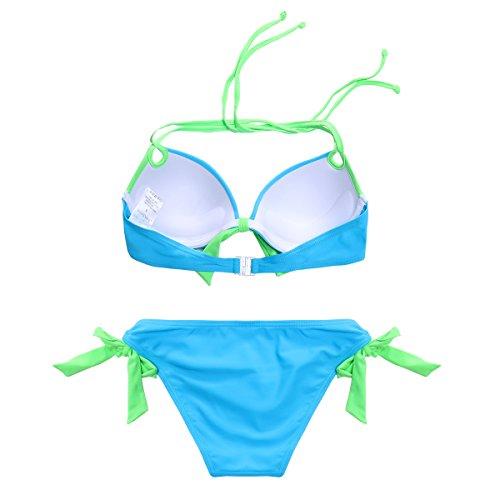 MissTalk Mujer traje de baño Bikini Atado al cuello empuja hacia arriba la playa de Bikini Beachwear Azul#1