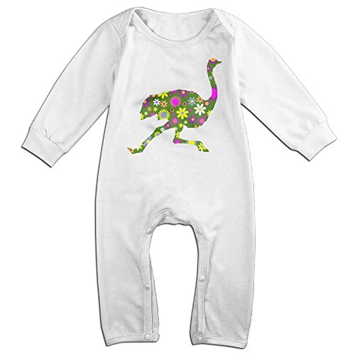 Mri-le1 Toddler Baby Boy Girl Coverall Retro Floral Running Ostrich Toddler Jumpsuit