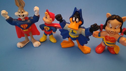 4 superhero action figures Bugs Bunny, Daffy Duck, Alvin and Girl Pig (preowned, some (Daffy Duck Superhero)