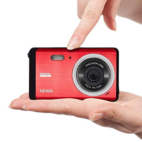Mini Camera for Kids, Vmotal 12MP 3.0 inch TFT LCD Screen Rechargeable Digital Camera, Starter Camera Student Camera Point Shoot Camera, Lightweight Digital Camera for Children, (Red)