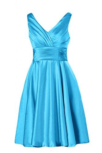 maniche Sunvary scollo Cocktail Gowns a V con Blue da raso Bridesmaid e in corte Homecoming 0qwZr0