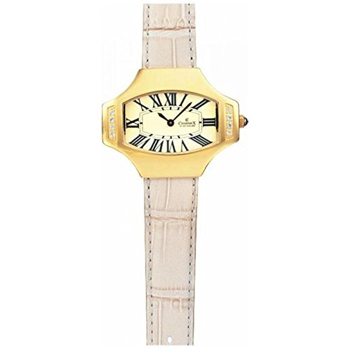 Charmex L's Strap Watch 5802 40x31.5mm Stainless Steel Case Beige Calfskin Synthetic Sapphire Women's Watch