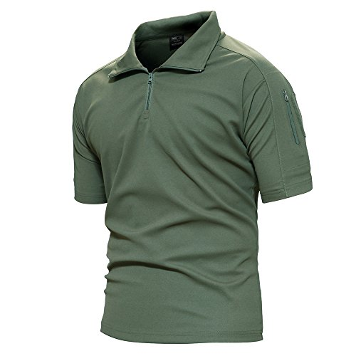 Mens Short Sleeve Practice Tee - TACVASEN Mens Polyester Soft Comfort Paintball Airsoft Short Sleeve T Shirt Top Army Green