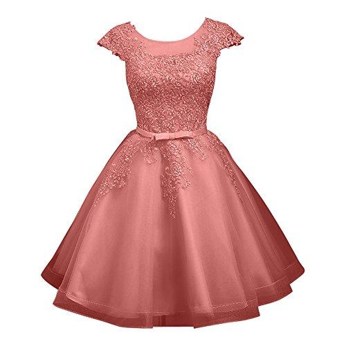 Abiballkleider Dunkel Cocktailkleider Kurzes Mini A Linie Damen Abendkleider Silber Spitze Charmant Rosa Promkleider xSTwq6p