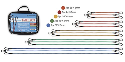 Rocket Straps | 15PC Bungee Cords with Hooks - Aluminum Carabiners | Bungee Cord Set Includes | Bungee Cords & Carrying Bag - A 50/50 Latex Rubber Blend for Extreme Strength by Rocket Straps (Image #1)