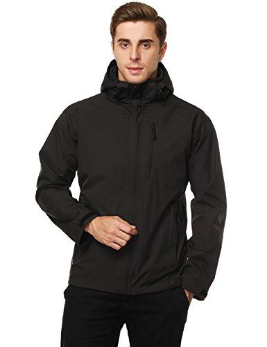 MIER Men's Hooded Rain Jackets Waterproof Rain Shell Windbreaker for Outdoor, Black, L