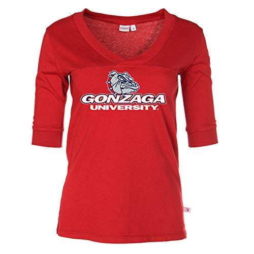 Official NCAA Gonzaga Bulldogs - Women's 3/4 Sleeve Football V-Neck Tee