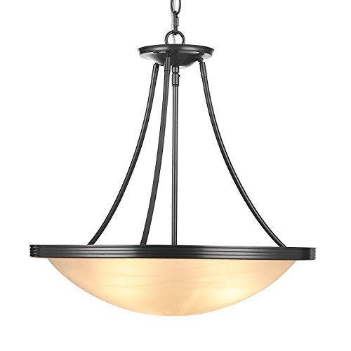 Doraimi 3 Light Flush Mount Ceiling Light Pendant Light Fixture with Brushed-Nickel Finish and Seeded Glass Shade (Black, UA03011)