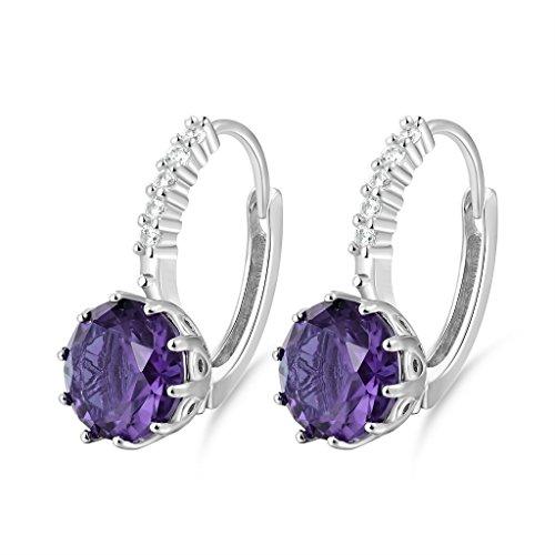 GULICX Jewelry Girls White Gold Tone Purple Cubic Zirconia Prong Round Rhinestone Pierced Huggie Earrings - Gold Tone Pierced Earrings