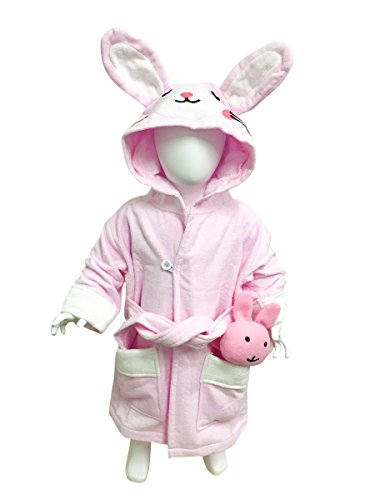 MINERVA Baby&Kids Rabbit Bathrobe & Plush Toy Gift Set For 2-8 Years Old 100% Virgin Cotton (S) by MINERVA HOME