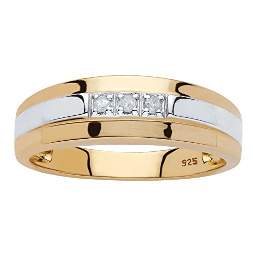 Men's Diamond Accent Two-Tone 18k Yellow Gold over .925 Sterling Silver Band Size 8 (Mens 18 Carat White Gold Wedding Rings)
