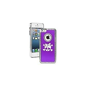 Apple iPhone 5 5s Purple 5S250 Rhinestone Crystal Bling Aluminum Plated Hard Case Cover Heart Skull Bow