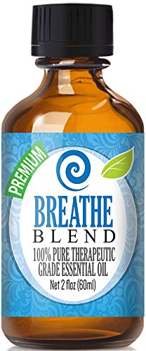 Breathe Blend 100% Pure, Best Therapeutic Grade Essential Oil - 60ml / 2 (oz) Ounces - Eucalyptus, Cardamom, Lemon, Laurel Leaf, Peppermint, Pine & Tea Tree