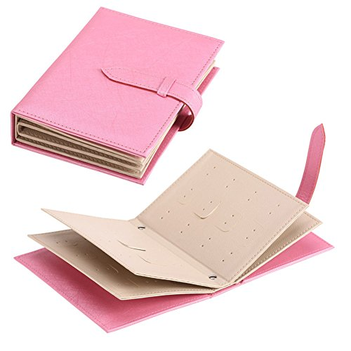 AVESON Portable Earring Book PU Leather Jewelry Ear Studs Storage Organiser Case Display Box for Travel Girls Lady Girlfriend Valentine's Gift (Pink) (Kids Storage Earring)