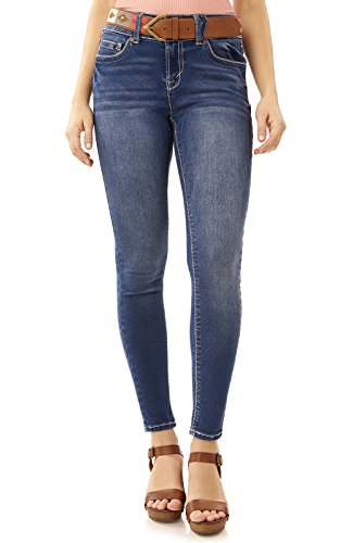 WallFlower Juniors Luscious Curvy Belted Skinny Jeans in Jillian Size:7
