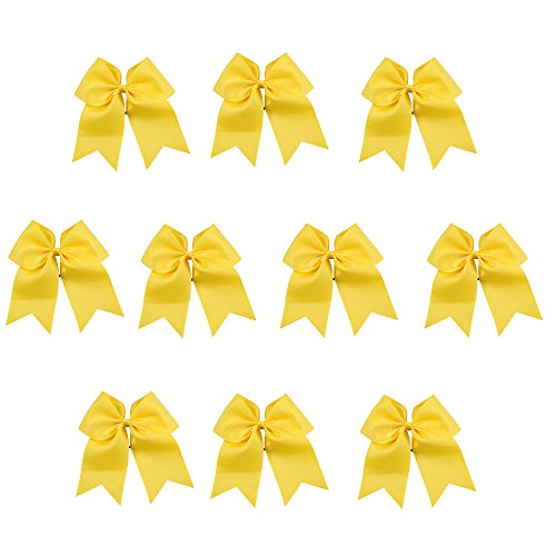 CN Girls Cheer Bow with Ponytail Holder for Cheerleading Girl Pack of 10 Yellow
