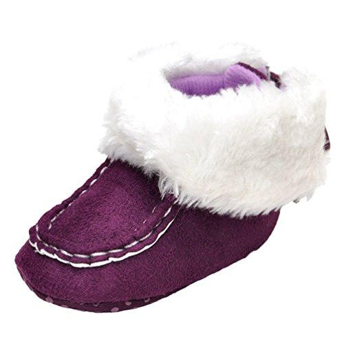 CHENGYANG Kleinkind Baby Mädchen Warm Niedlich Schneestiefel Weiche Sohlen Krippe Schuhe Stiefel Winterstiefel Violett#23
