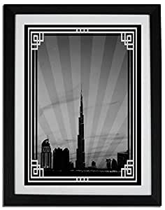 Dubai Skyline Down Town - Black And White With Silver Border No Text F06-m (a2) - Framed