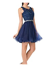 Beilite Lace Beaded Homecoming Dress Open Back Short Prom Dress