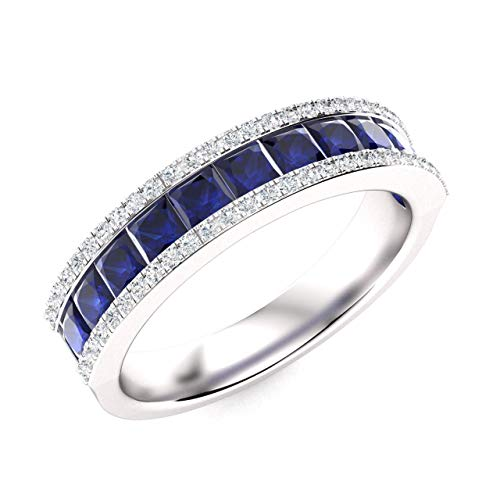 Diamondere Natural and Certified Princess Cut Blue Sapphire and Diamond Wedding Ring in 14K White Gold | 1.45 Carat Half Eternity Band for Women, US Size 7 ()