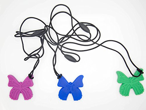 Bestie Toys Butterfly Sensory Chew Necklace (3-Pack)-Chewelry For Boys & Girls With Autism SPD ADHD Oral Motor Chewing Biting Teething Stimming Needs|Chewable Jewelry|Sensory Oral Motor Aid (3)