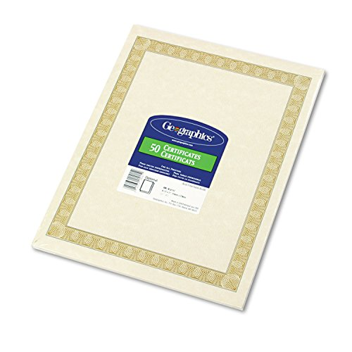 Geographics 21015 Parchment Certificates, 8.5 x 11, Diplomat Border, 50/Pack by Geographics