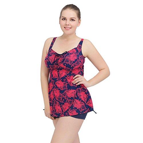 SHISHANG La Sra gran tamaño del bikini traje de baño partido de la falda del traje de baño de alta elasticidad de Europa y el gran tamaño del traje de baño traje de baño de Estados Unidos Red