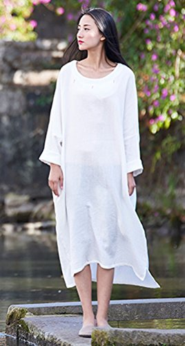 Batwing Women's Dresses Soojun Casual Sleeve Loose With White Cotton Vintage Linen qnd8Oadw